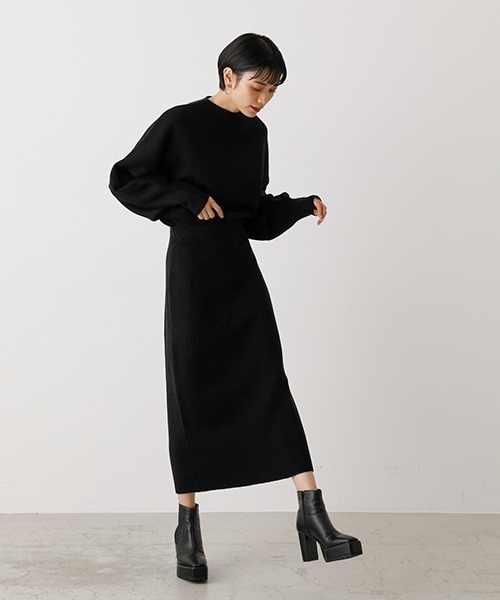 [AZUL BY MOUSSY] BOTTLE NECK BLOUSING ONE PIECE/ボトルネックブラウジングワンピース