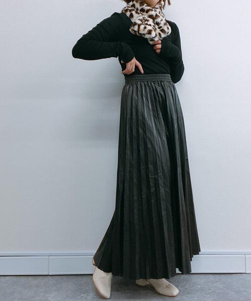 [Bonjour Sagan] エコレザープリーツスカート【ZOZO限定アイテム】