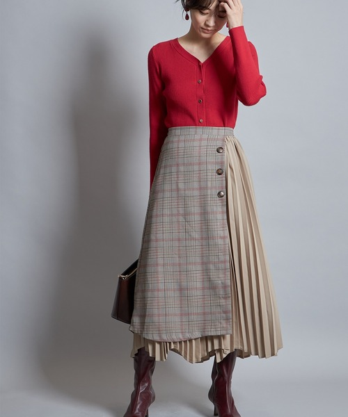 [tocco closet] グレンチェックプリーツスカート