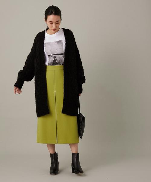 [ADAM ET ROPE'] フロントステッチタイトスカート