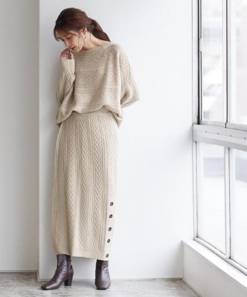 [Pierrot] ケーブル編みスカートセットアップ