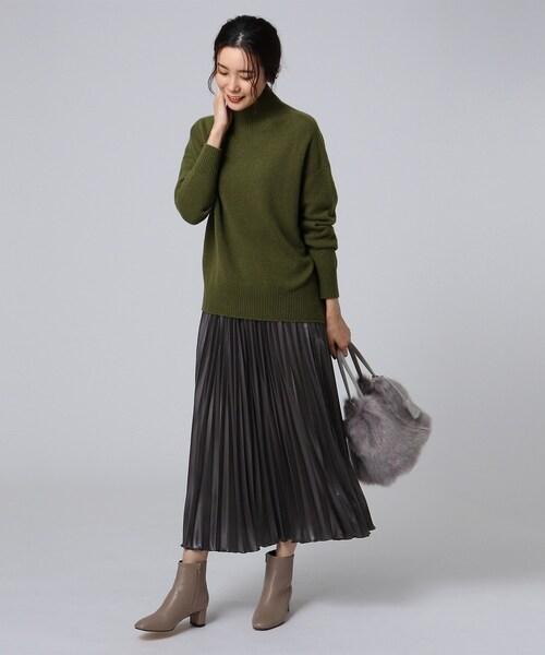 【洗える】チンツバルブサテンプリーツスカート