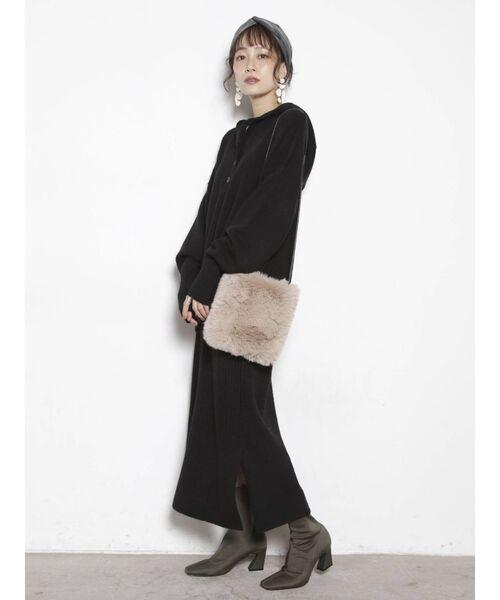 [COTORICA.] メランジスリットスカート【セットアップ対応】