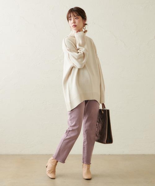 [natural couture] フリンジストレッチカラーパンツ