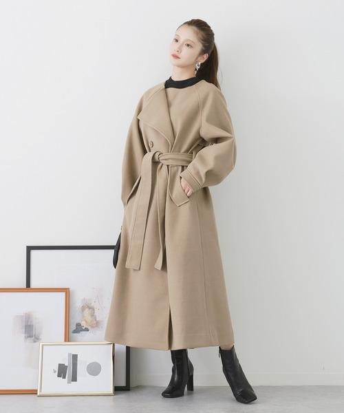 [kicuri] 【低身長向けSサイズ有】ボリュームスリーブコート