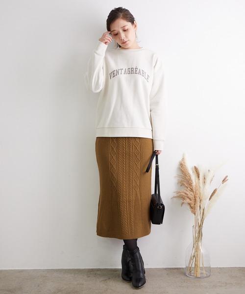 [ROPE' PICNIC] 【セットアップ対応】細ケーブルマーメイドニットスカート