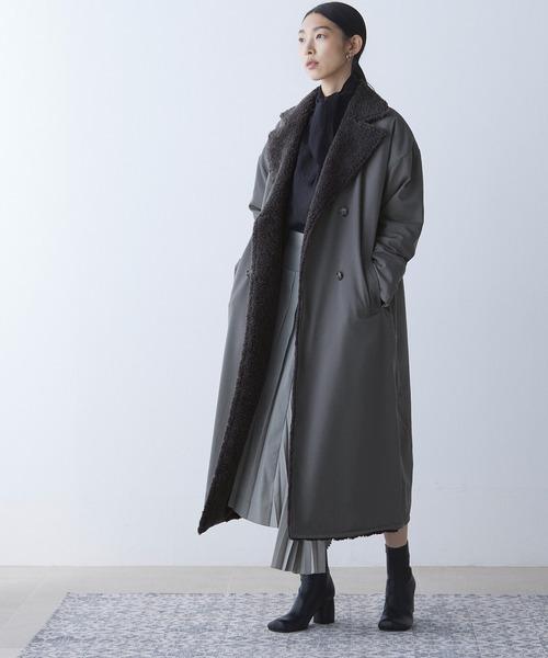 [EMMA CLOTHES] リバーシブル ボア キルティング ロングコート2