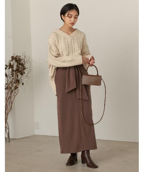Re:EDIT] [低身長向け/高身長向けサイズ対応]マシュマロカットウエストリボンタイトスカート