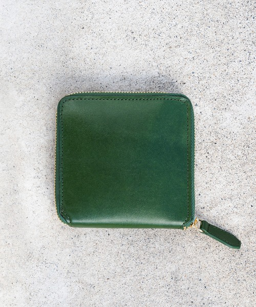 [MURA] ラウンドファスナー ゴートレザー スキミング防止機能付き スクエア 二つ折り財布2