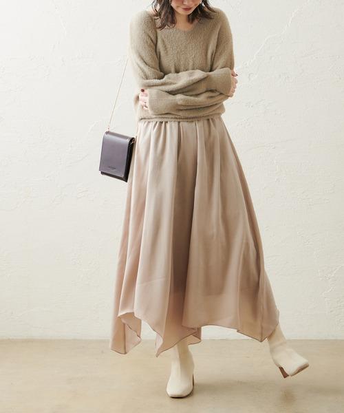 [natural couture] 【WEB限定カラー有り】シャギーニット×ヴィンテージサテンスカートセット