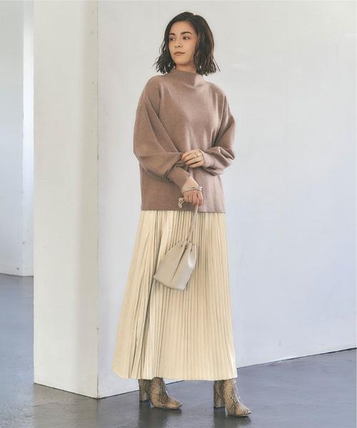 フェイクスエードロングプリーツスカート