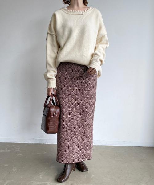 [Auntie Rosa] 【2021/冬春先行予約】ジャガードニットタイトスカート/ニットスカート/ウエストゴム