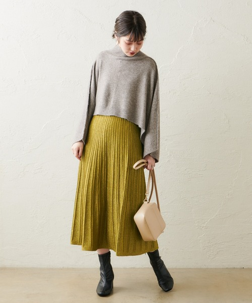 【WEB限定カラー有り】ほんのりラメプリーツスカート