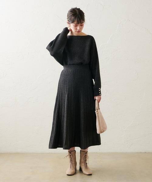 [natural couture] 【WEB限定カラー有り】ほんのりラメプリーツスカート