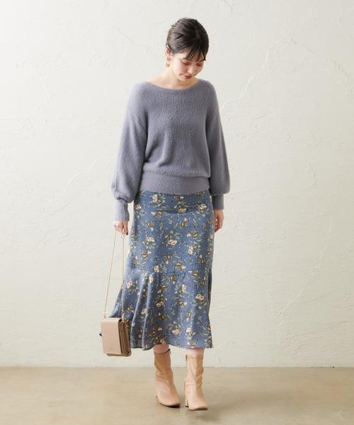 natural couture] 裾切替マーメイドスカート
