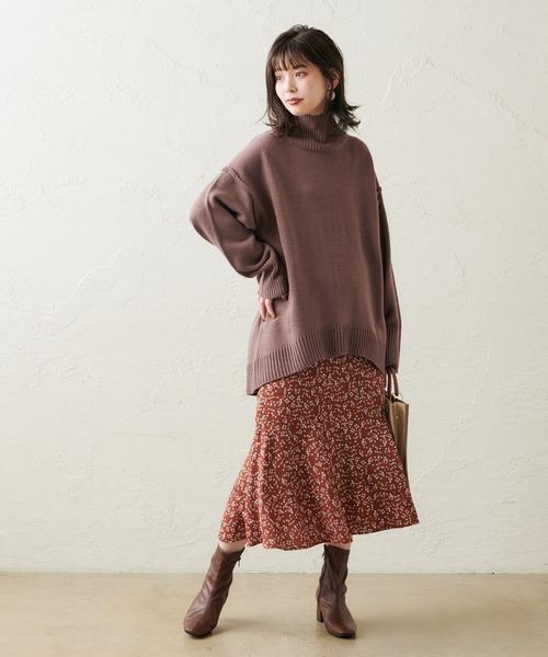 natural couture 裾切替マーメイドスカート