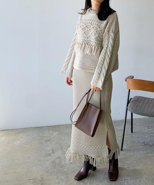 [Lian] フリンジニットスカート