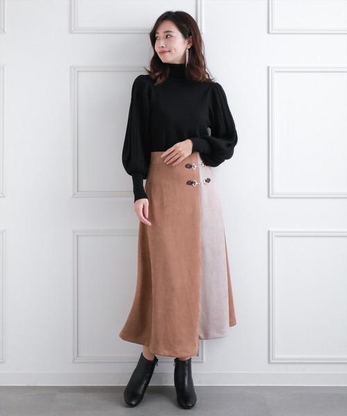 [clear] ≪2020AW新作≫フェイクスエード配色スカート