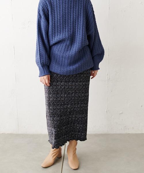 [natural couture] 細プリーツアソート柄スカート