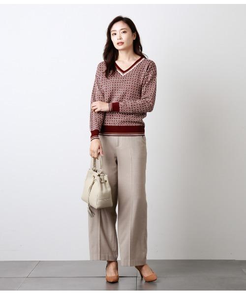 [NEWYORKER] 【Days Knit】格子ジャカード チルデンデザインニット