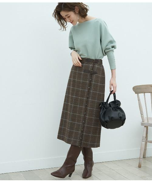 [ROPE' PICNIC] 【WEB限定】チェック柄フリンジキルトロングスカート