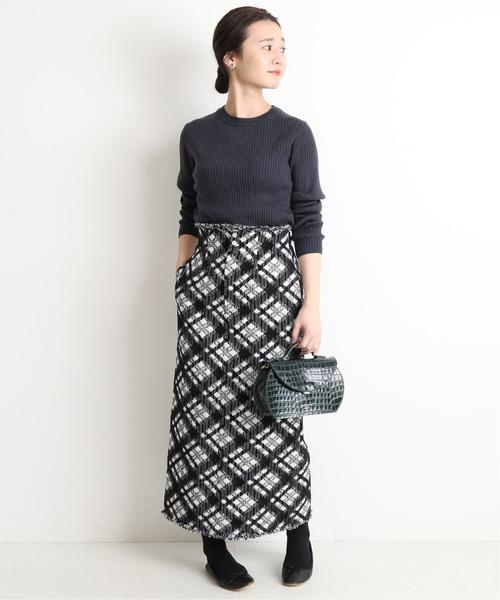 [IENA] チェックツイードタイトクロップドスカート【手洗い可能】◆