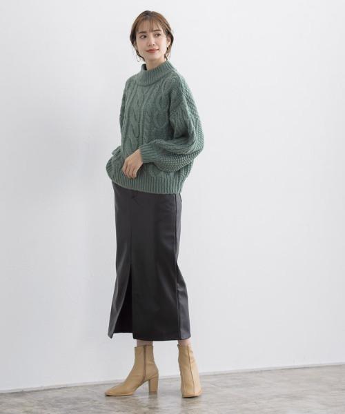 [Pierrot] フェイクレザータイトスカート