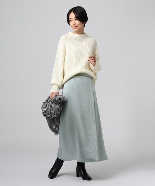 L」【洗える】ラップ風ミモレスカート