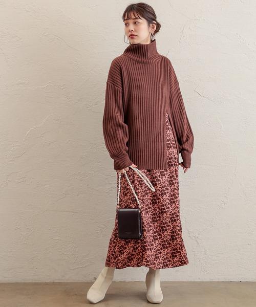 [natural couture] 【WEB限定】スリットニット+パイピングキャミワンピースセット
