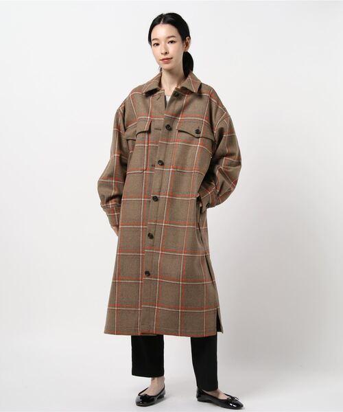 [HELIOPOLE] MANTECOチェックロングシャツジャケット