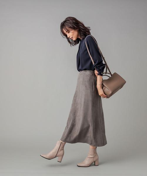 柔らかな風合いが女性らしい エコスウェード8枚ハギスカート (無地)