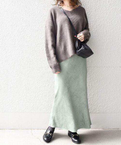 SHIPS for women] 【手洗い可能】カラーフェイクスエードスカート