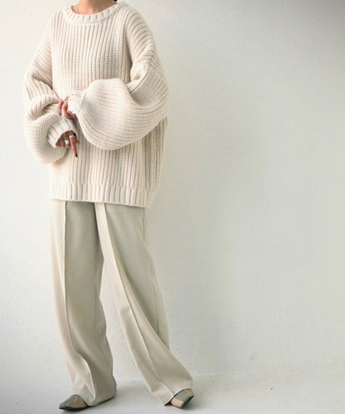 [antiqua] オーバーサイズニット 『ルーズに着こなす』が今っぽい。オーバーサイズとたぽっと袖が可愛い、大人ニット。