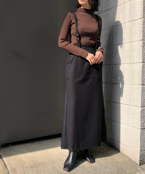 [HER CLOSET] 【&g'aime】サスペンダー付きレザー切り替えスカート/レザーフレアスカート