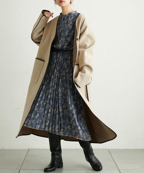 [natural couture] 合皮ひもベルト付きラッププリーツワンピース