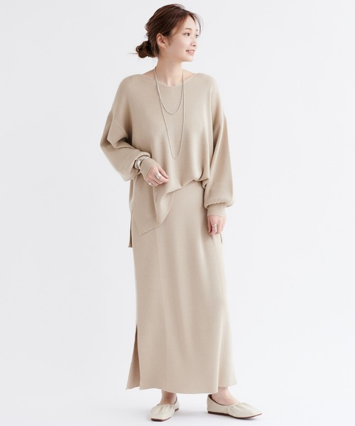 [DouDou] 【WEB限定】【セットアップ】Vネックプルオーバー×タイトスカート