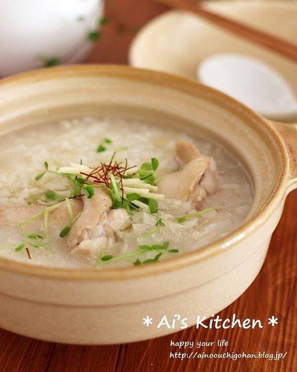 お腹に優しいご飯鍋レシピの参鶏湯風雑炊