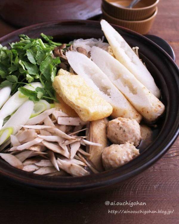 お米を使った具のきりたんぽ鍋のレシピ