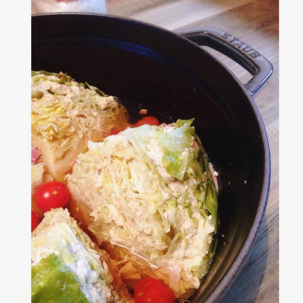 キャベツとひき肉のミルフィーユ鍋