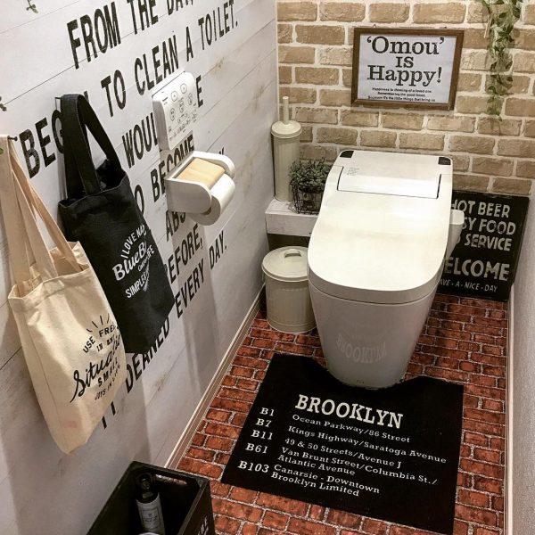 2種のレンガシートをトイレのリメイクに活用