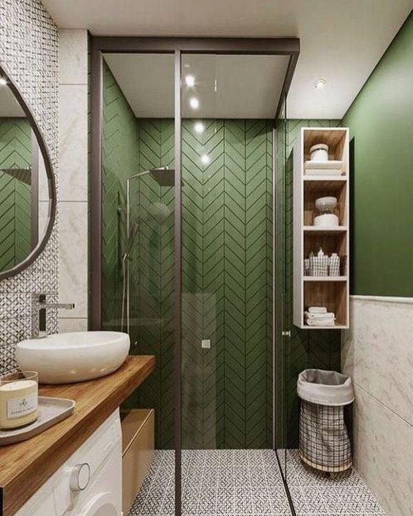 ツートーンインテリアの上品なバスルーム