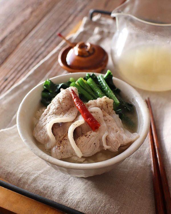 豚肉のあっさりご飯レシピの簡単だし茶漬け