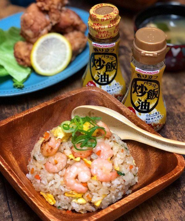 中華風肉団子のスープに海老炒飯