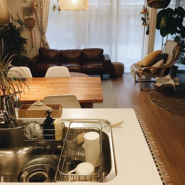 オープンキッチン 収納実例 水回り
