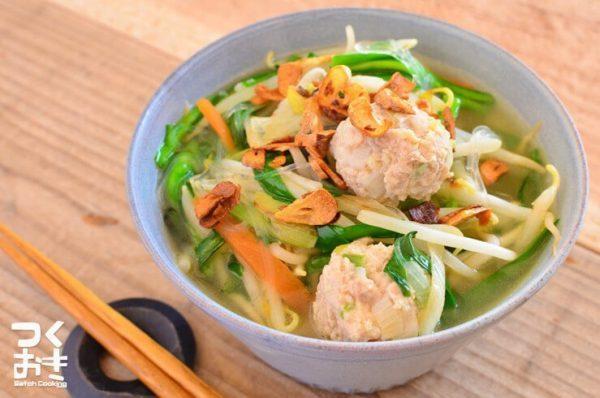 具沢山でおすすめ!鶏団子春雨スープ
