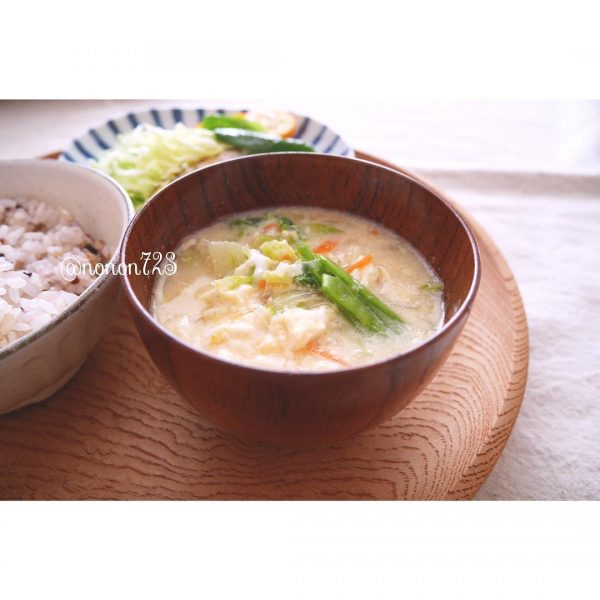 千切り野菜のかき玉味噌汁