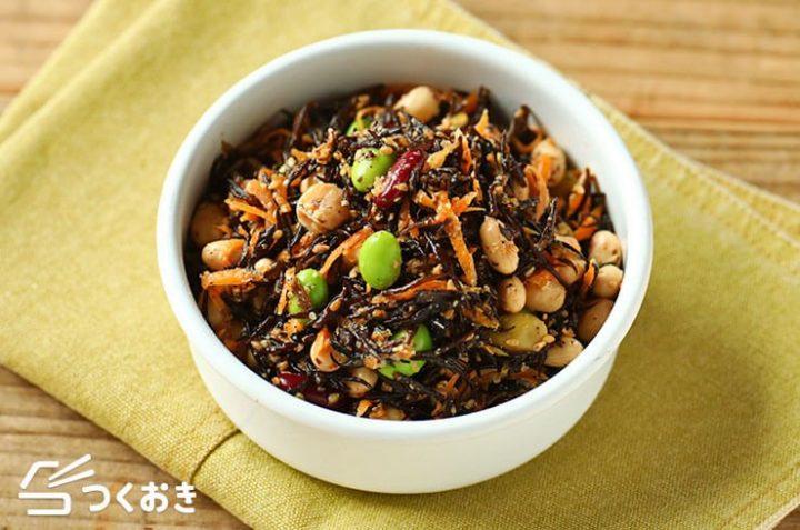 ヘルシーな副菜!豆とひじきの健康サラダ