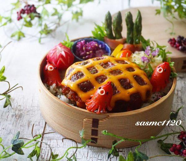 編み編みチーズハンバーグ弁当