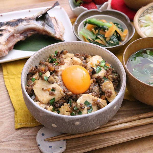 和風♪豆腐とひき肉の甘辛丼