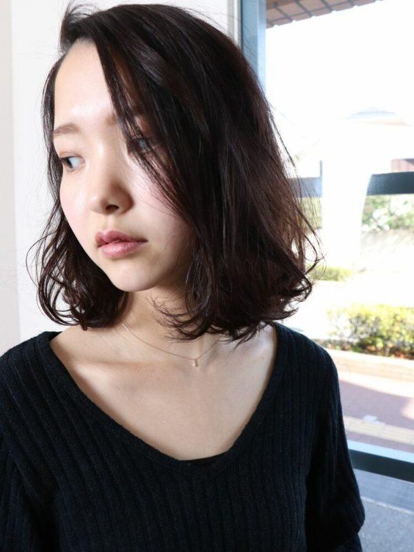 かき上げ前髪×毛先カールパーマ